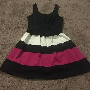 Black, pink, and white dress